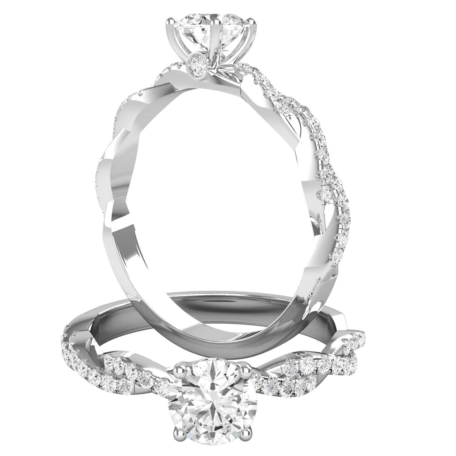 Inel de Logodna Solitaire cu Diamante Mici pe Lateral Dama Aur Alb 18kt cu Diamante Rotunde Briliant si Design Impletit-img1