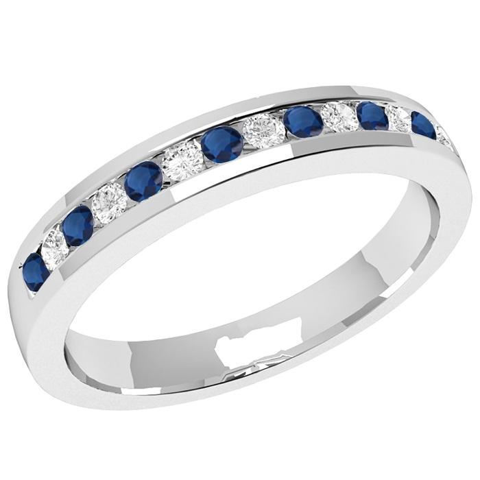 saphir und diamant ring fuer dame in 18kt weissgold mit 8 runden saphiren und 7 runden. Black Bedroom Furniture Sets. Home Design Ideas
